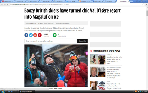 Media state that Boozy Brits 'dragged chic French ski resort into the gutter'