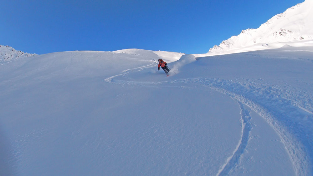 Early season powder ski tour