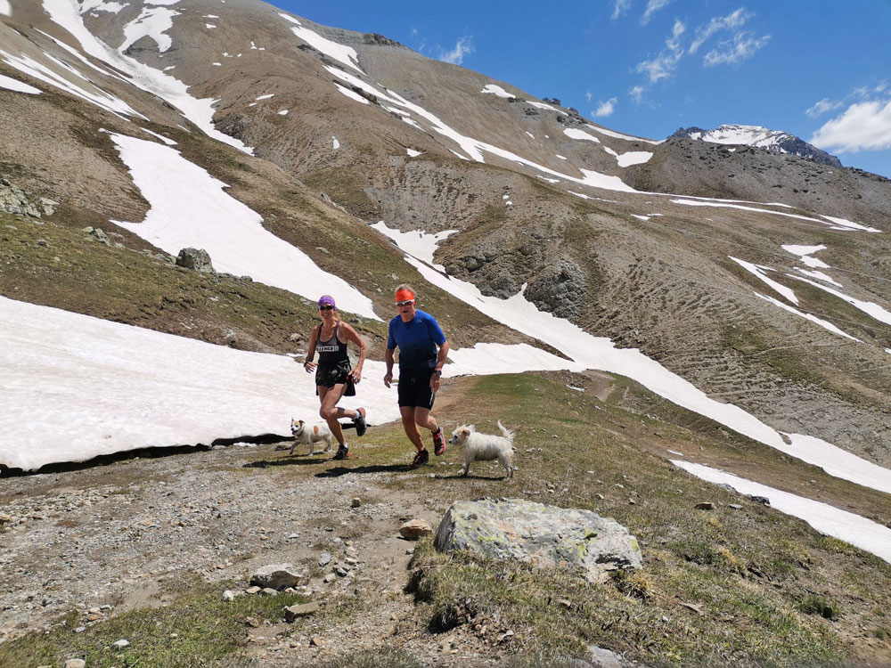 Running up the Ancienne route Galibier