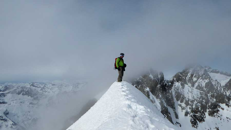 Mountain ridge ski touring